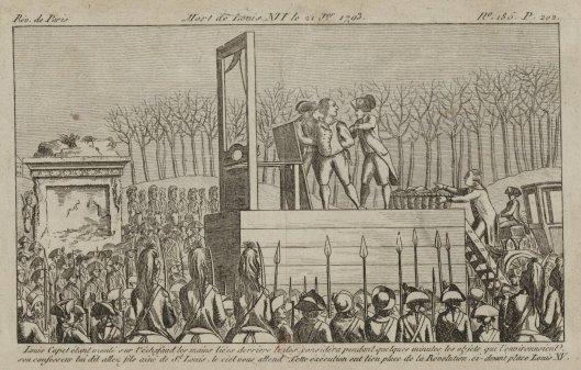 Mort de Louis XVI le 21 janvier 1793, eau-forte publiée par l'imprimerie des révolution, 1793, Gallica/BnF