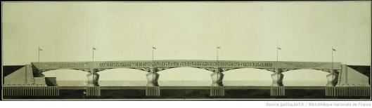 Boullée, Projet du pont de la place Louis XV assujetti aux données de celui de Mr. Perronet, dessin, 1787, Gallica/BnF