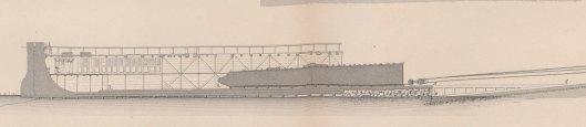 La sortie du bateau, détail d'une planche extraite de L'obélisque de Luxor histoire de sa translation à Paris, description des travaux auxquels il a donné lieu, par A. Lebas, 1839, Gallica/BnF