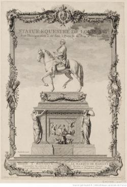 Statue équestre de Louis XV, gravure par Cathelin d'après Moreau, 1767, Gallica/BnF