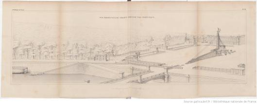 Vue perspective du chemin parcouru par l'Obélisque, planche de l'ouvrage de Lebas L'obélisque de Luxor : histoire de sa translation à Paris, 1839, GallicaBnF