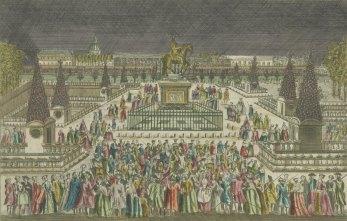 Decoration perspective des illuminations de la place Louis XV. faites le 22 juin 1763, vue d'optique publiée chez Mondhare, vers 1763, Gallica/BnF