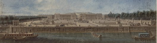Nicolas Pérignon, Vue de la place Louis XV, avant la construction du Pont, plume, aquarelle et gouache, vers 1780, Gallica/BnF