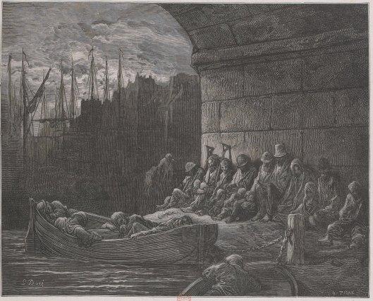 Misère pont Londres Tamise Gustave Doré