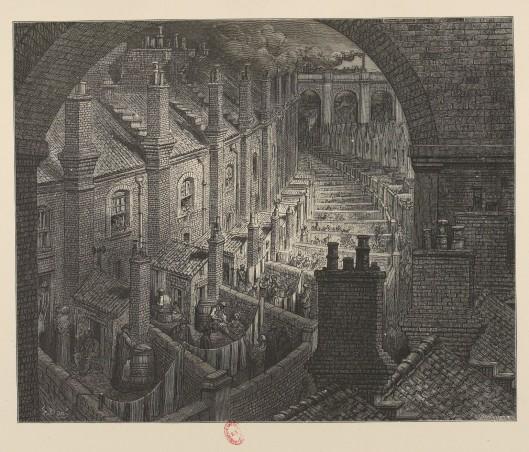 Londres, banlieue, misère, rail, Gustave Doré