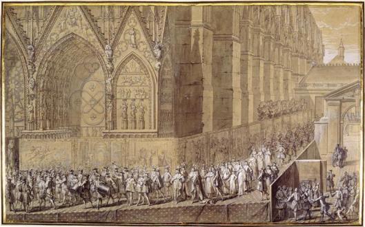 Sacre de Louis XV à Reims, 1722, procession. Dessin Pierre Dulin.