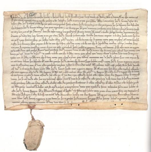 """Sentence arbitrale entre l'évêque de Paris et l'abbaye de Saint-Germain-des-Prés mentionnant la """"tornella Philippi Hamelini"""", janvier 1211, Archives Nationales"""