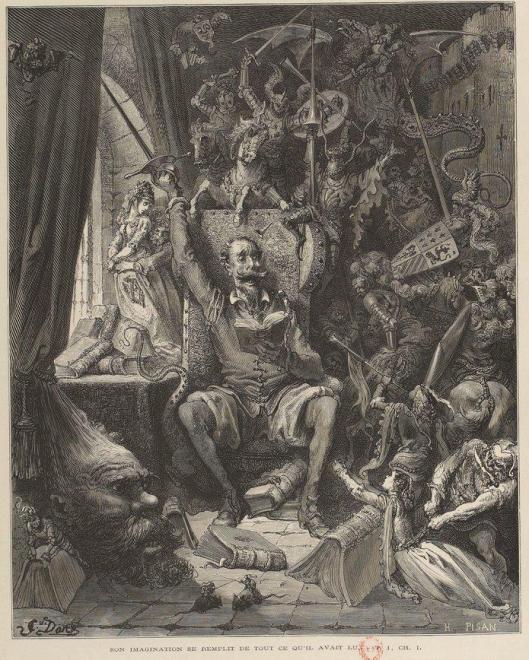 """Gustave Doré et Héliodore Pisan, """"Et son imagination se remplit de tout ce qu'il avait lu"""", frontispice pour le Don Quichotte, 1863, BnF/gallica"""