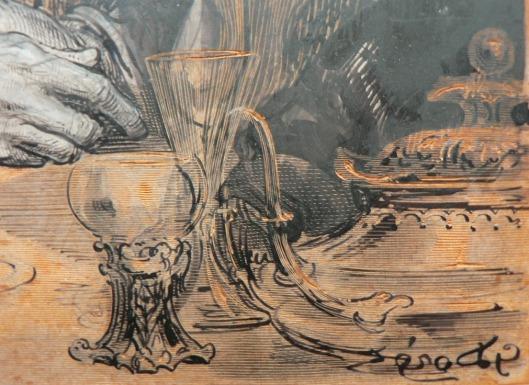 """Gustave Doré et Héliodore Pisan, """"Et on acheva de laver Don Quichotte"""", matrice inachevée (gouache sur bois), vers 1860, BnF, réserve du département des Estampes et de la photographie (détail)"""