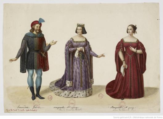 Eugène Du Faget, La tour de Nesle : quatre maquettes de costumes, 1832, aquarelle et rehauts de gouache, BnF/Gallica