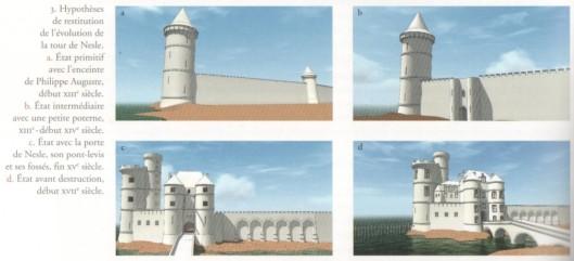 Hypothèses de reconstitution de la Tour de Nesle, images de synthèse réalisées pour l'expo.
