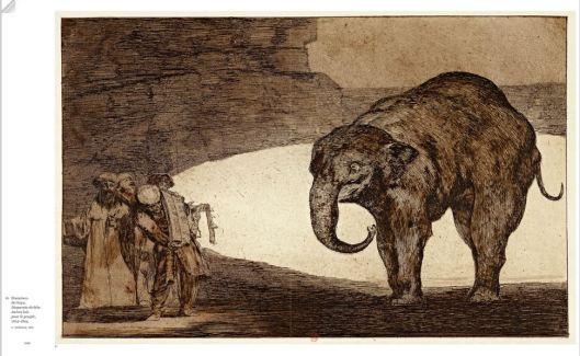 Double page : Francisco de Goya, Disparate dee bête. Autre lois pour le peuple, 1819-1824.
